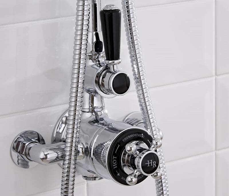 Vintage style exposed thermostatic shower valve in chrome and black