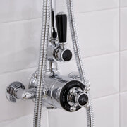 chrome and black exposed thermostatic shower valve