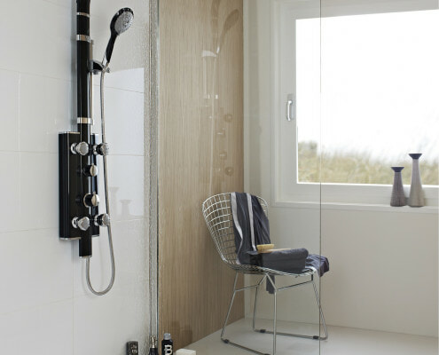 modern wet room with glass panel