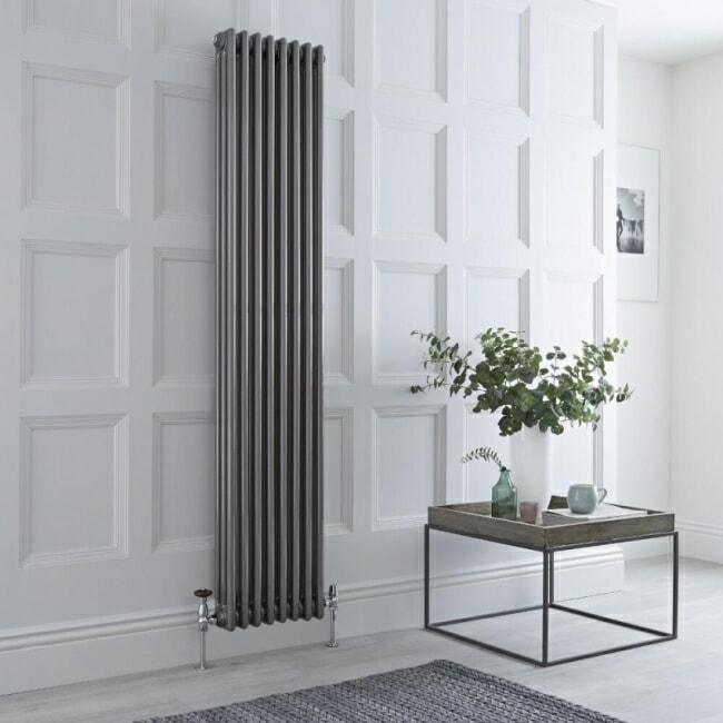 Milano Windsor column radiator in raw metal lacquered finish