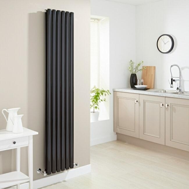 milano aruba black vertical designer radiator
