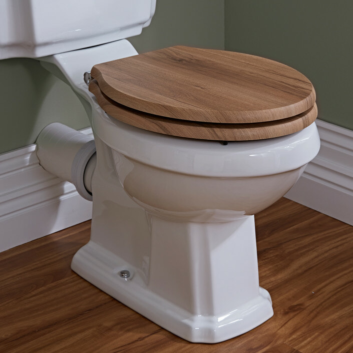 traditional toilet with wood seat