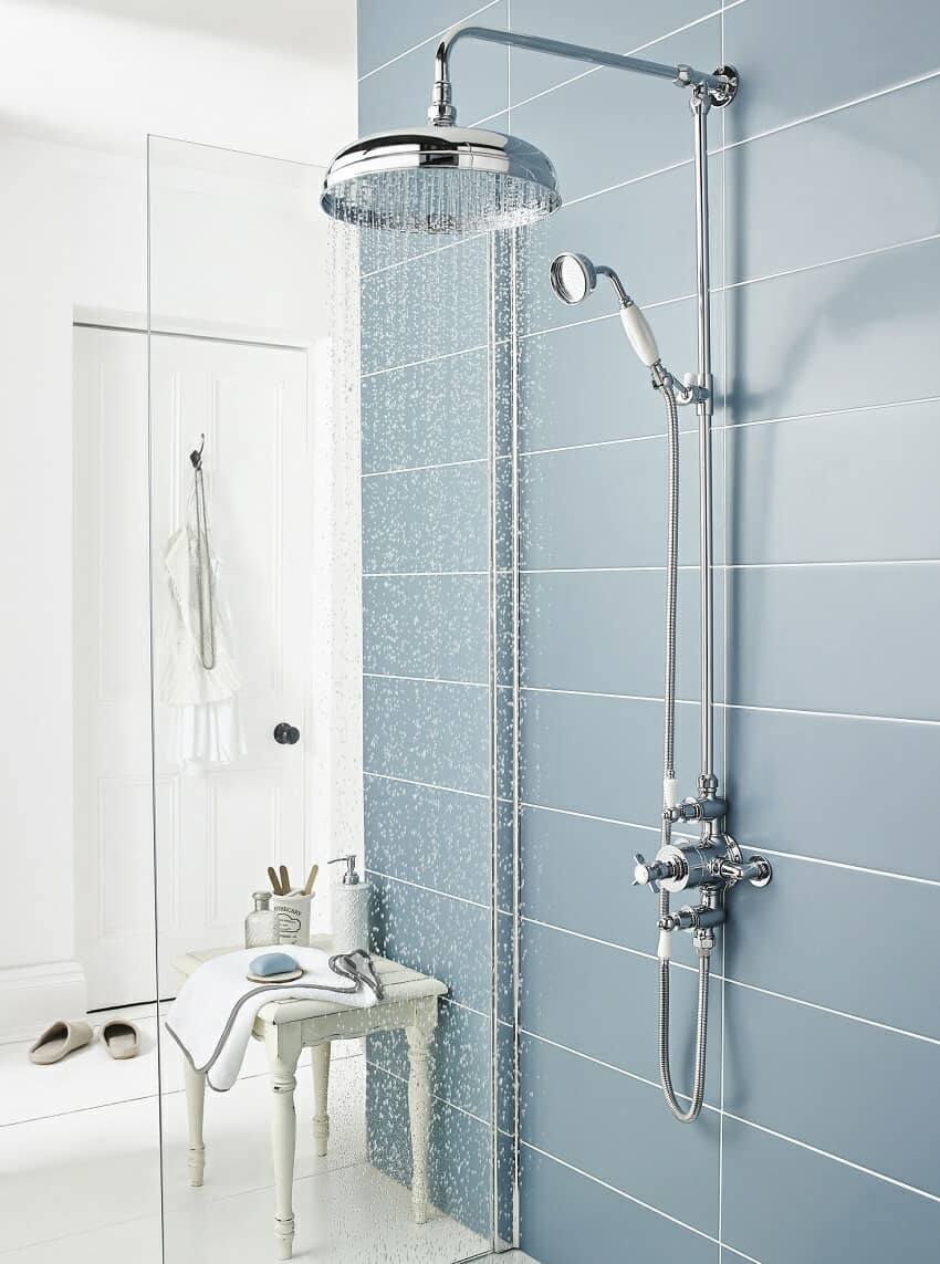 wet room with blue tiles and shower