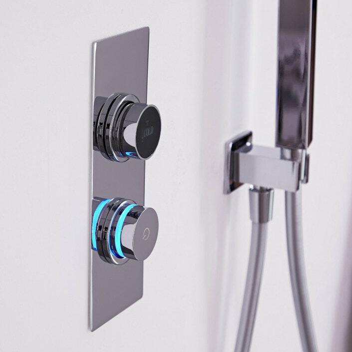 digital shower control with blue light
