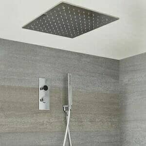Milano Vis - Chrome Thermostatic Digital Shower with Recessed Shower Head and Hand Shower (2 Outlet)