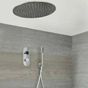 Milano Vis - Chrome Thermostatic Digital Shower with Round Recessed Shower Head and Hand Shower (2 Outlet)
