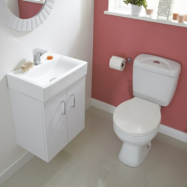 White wall hung vanity unit and classic close coupled toilet