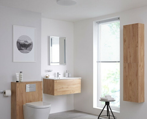oak effect bathroom cabinets