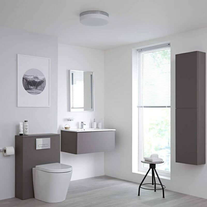 grey bathroom furniture in white bathroom