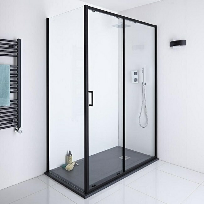 black framed shower enclosure with black shower tray