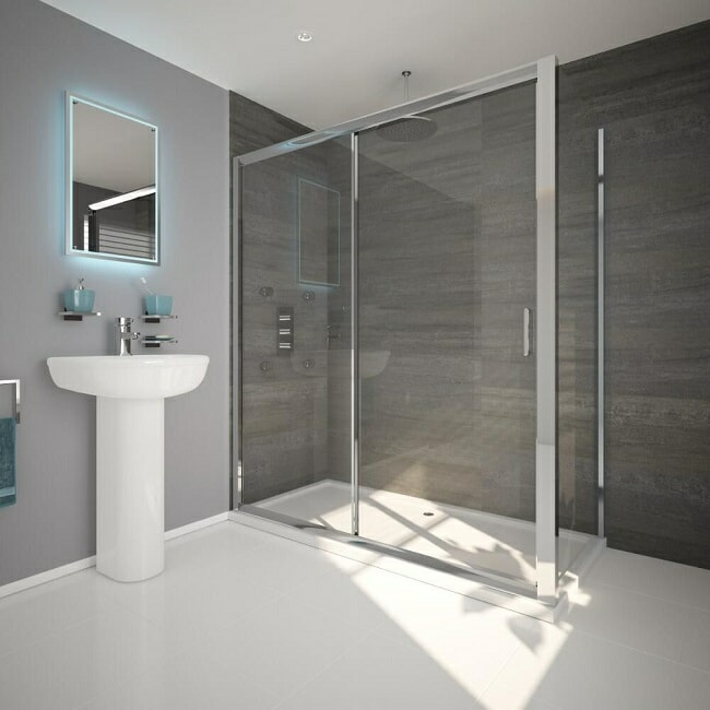 Thick chrome framed large rectangular shower with white shower tray