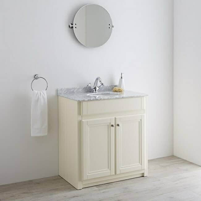 traditional bathroom vanity unit in ivory finish