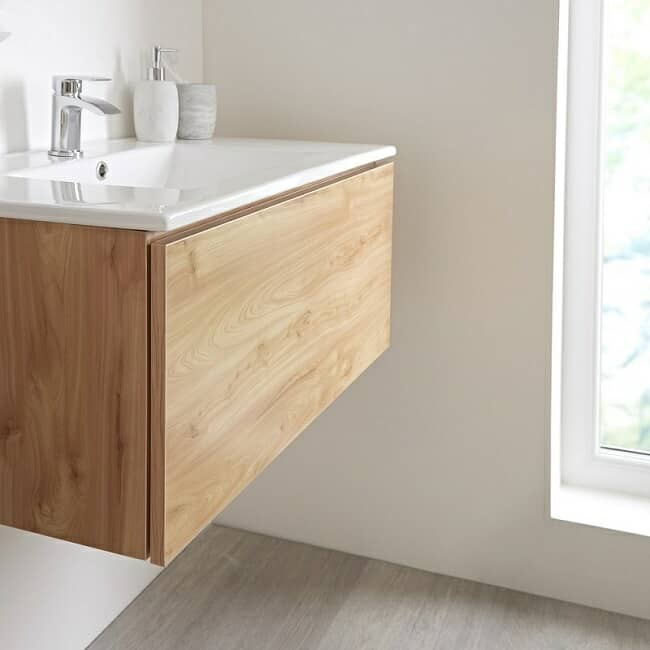 wall mounted vanity unit in oak effect finish