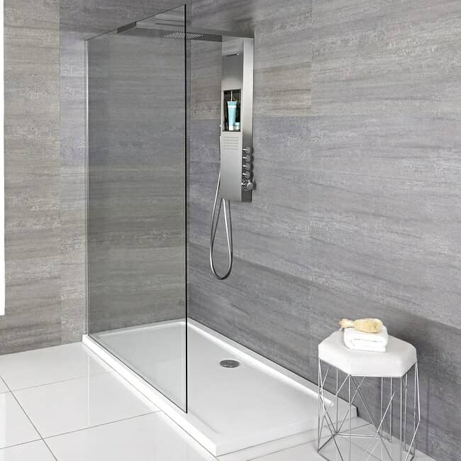 White walk in shower tray with floating screen and integrated shower head, valve and storage