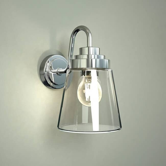 classic chrome wall light with cone shaped glass shade