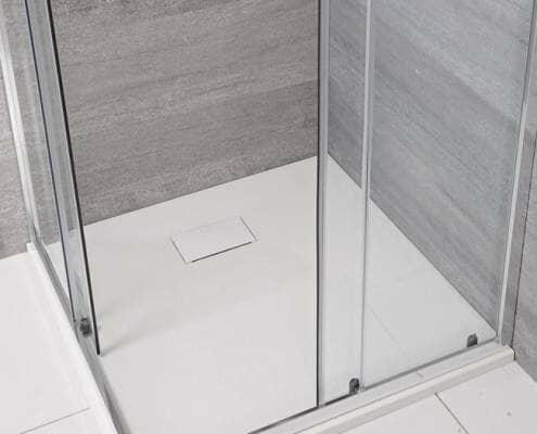 white slate effect shower tray
