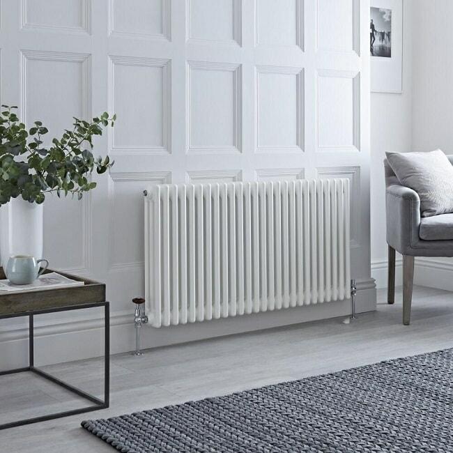 white column radiator in traditional room