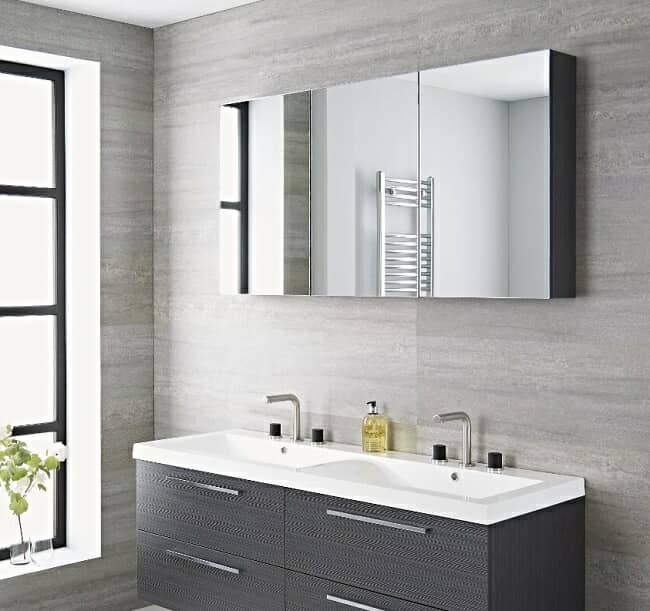 mirror cabinet and double vanity unit