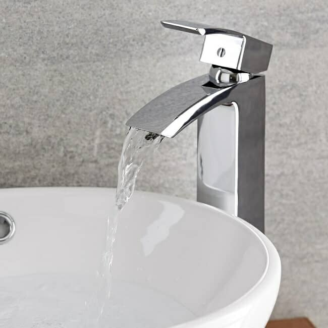 high rise basin tap with countertop basin