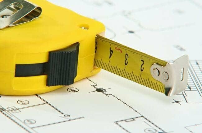 measuring tape on a plan