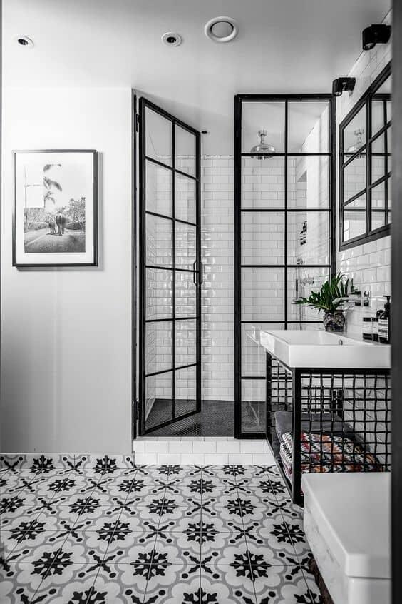 Black shower door