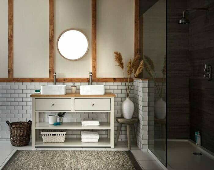 A Milano Henley country style ivory washstand and traditional basin in a country look bathroom