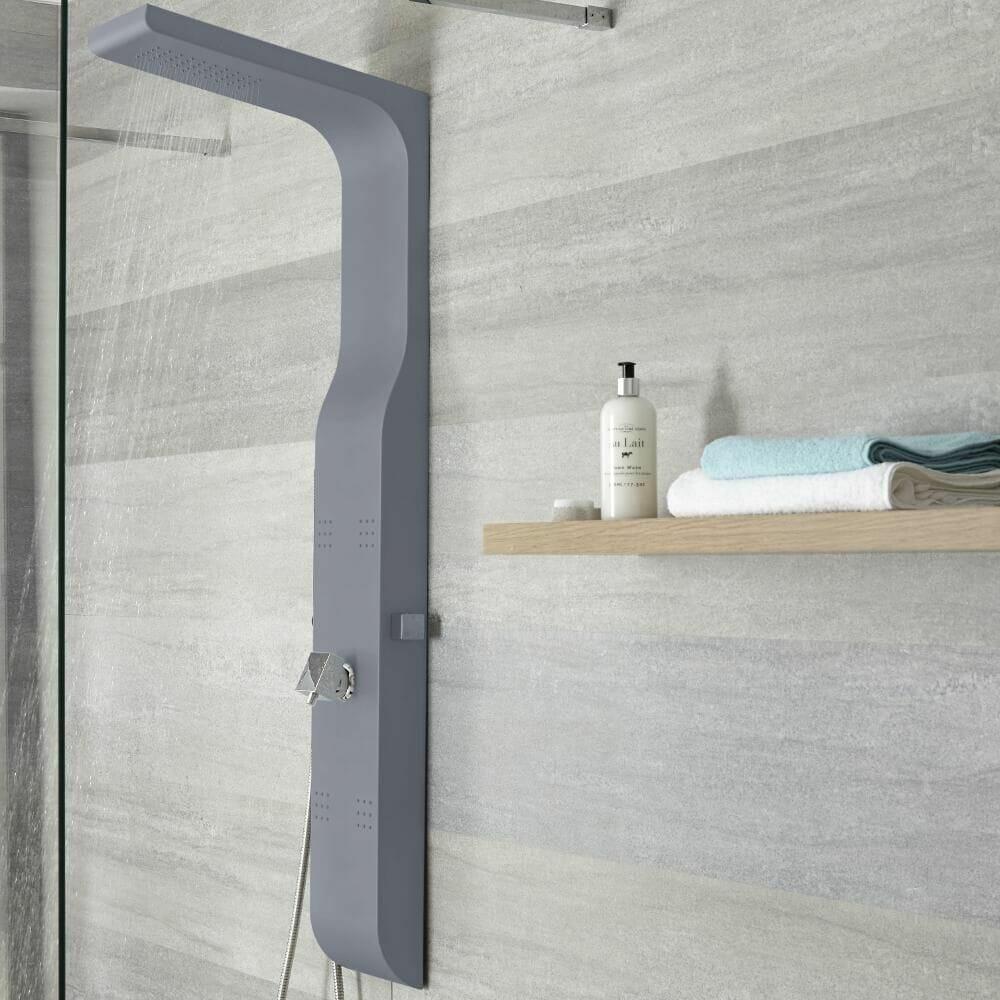 milano dalton anthracite exposed shower panel