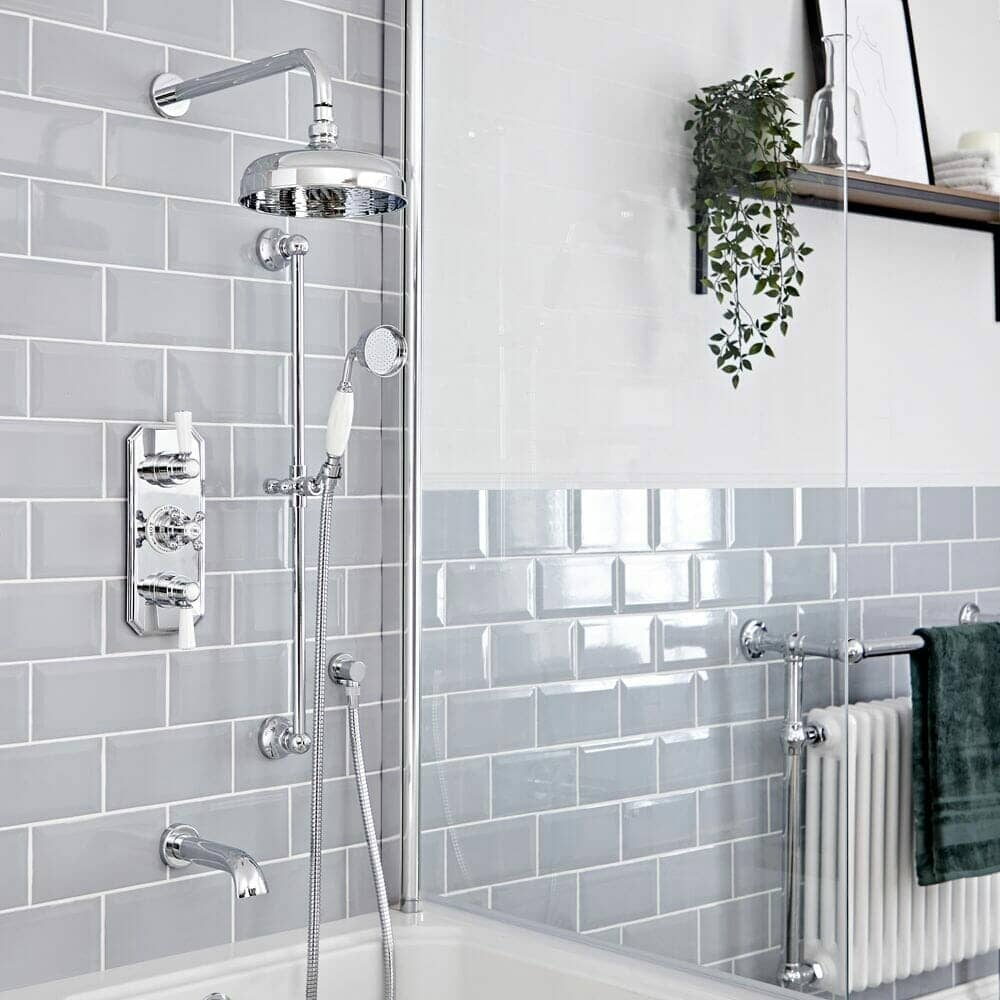 elizabeth chrome and white traditional shower