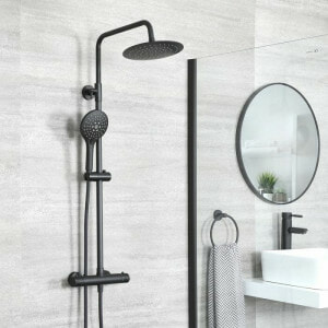 A complete black shoer system in a grey bathroom space