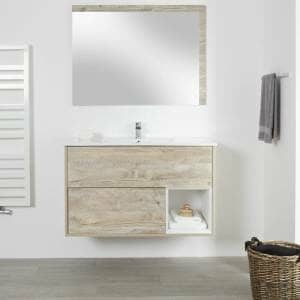 the milano oxley vanity unit in a white bathroom