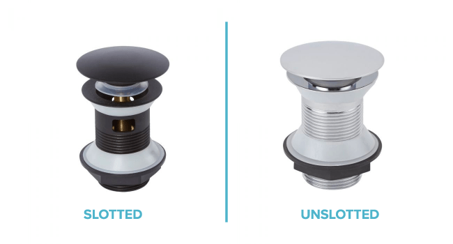 an image showing the difference between a slotted and an unslotted basin waste