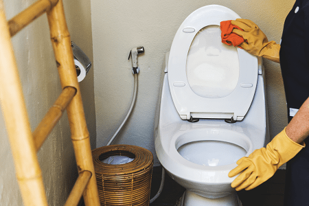 a cleaning lady cleaning a toilet with a cloth
