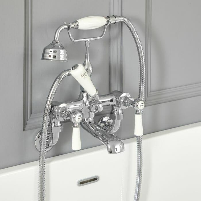 mixer bath tap white & chrome