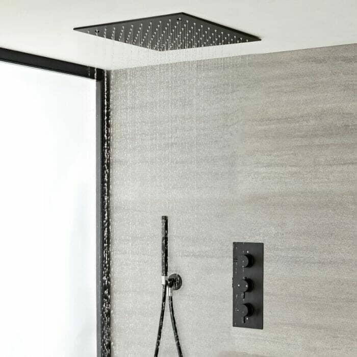 Modern black ceiling shower head