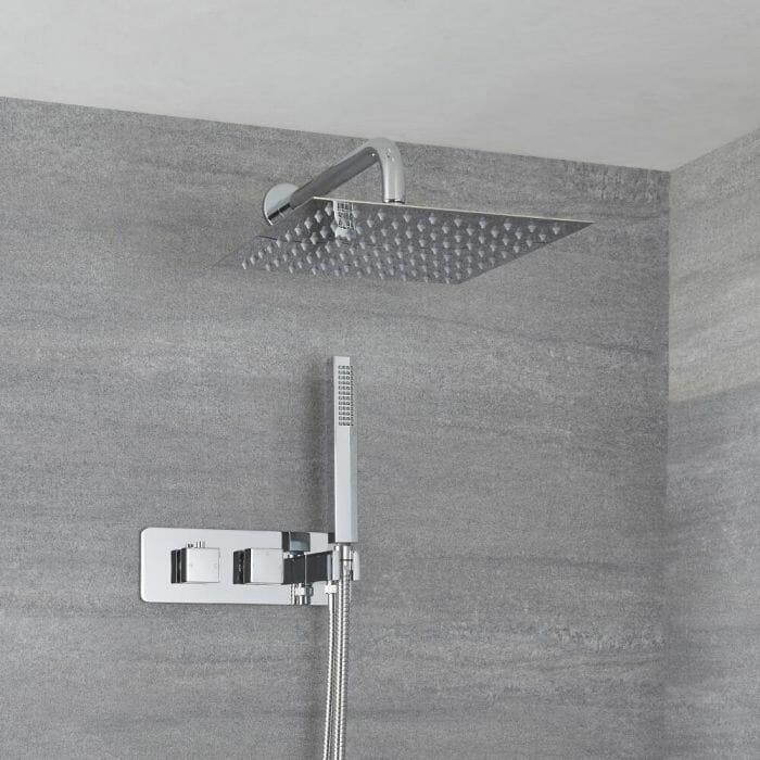 modern chrome fixed shower