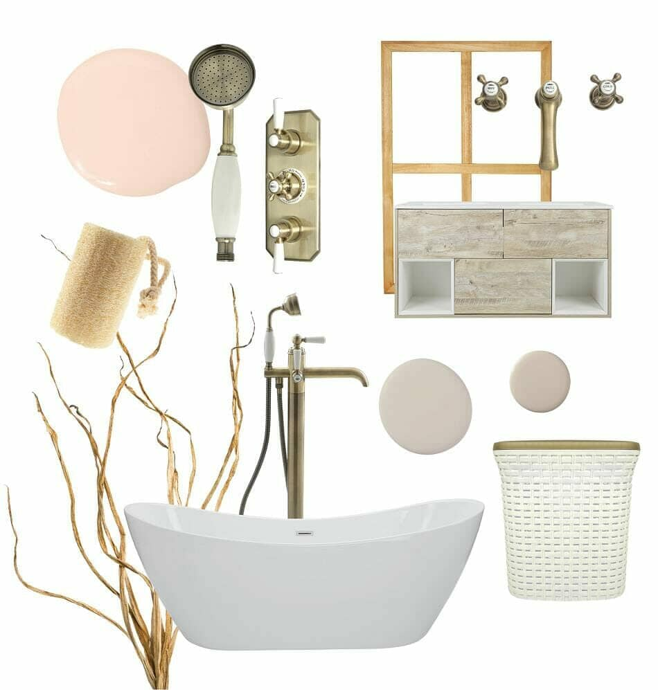 A selection of light coloured scandi bathroom fittings and accessories on a white background