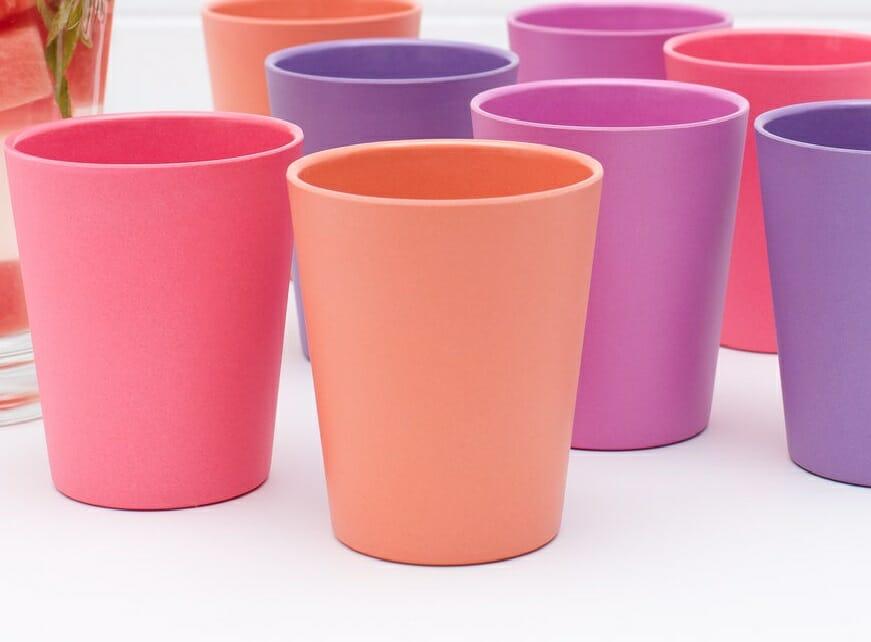 Coloured plastic cups