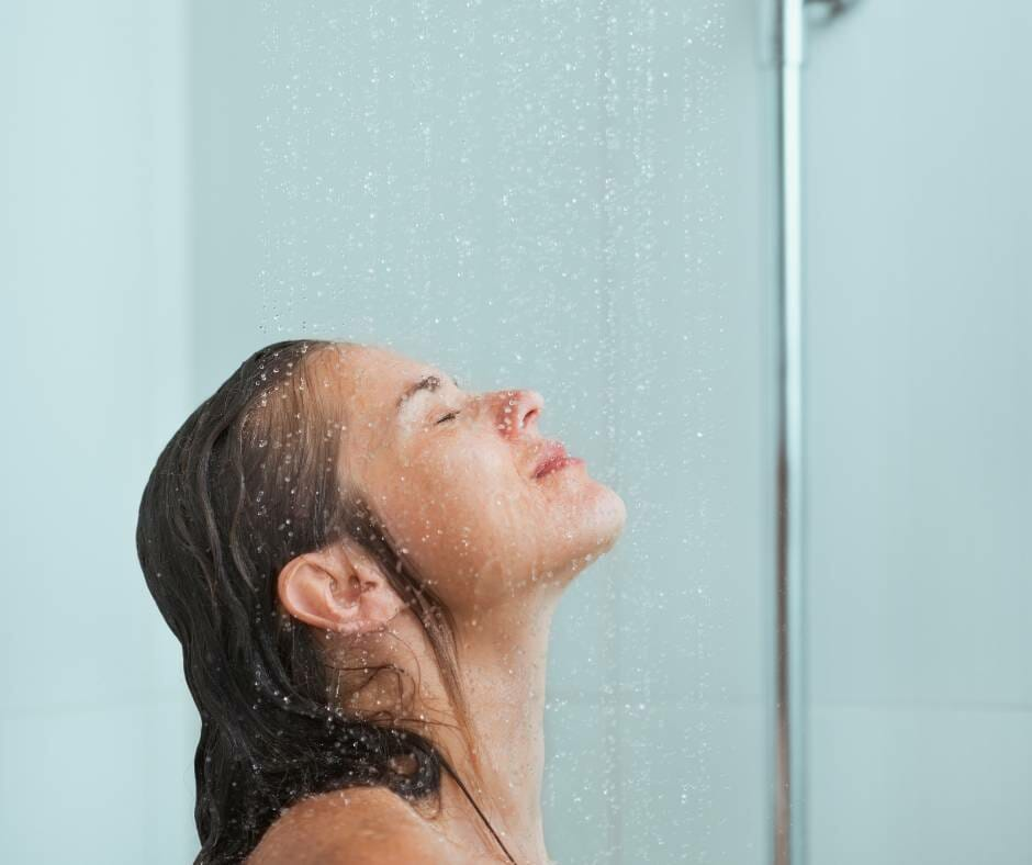 Rinsing off in the shower