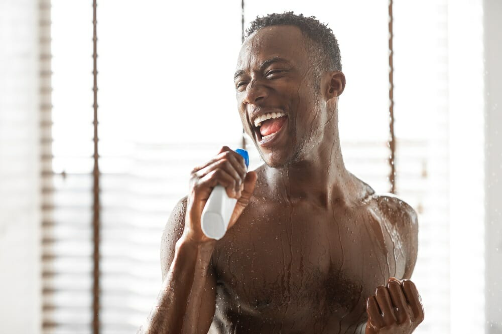 Funny Fat Man In The Shower Stock Photo - Download Image