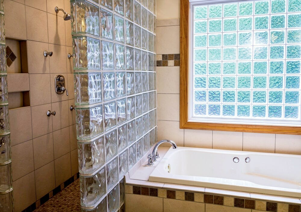 clean bathroom area with glass shower wall