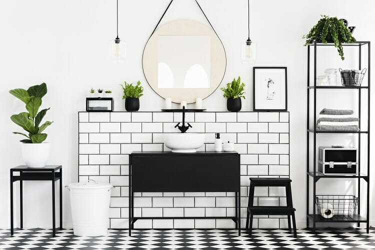 a black and white bathroom filled with plants
