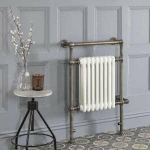 Elizabeth brushed brass traditional heated towel rail