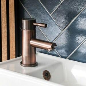 Milano Amara - Modern Mono Basin Mixer Tap - Brushed Copper