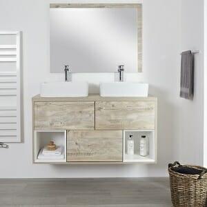 Milano Bexley - Light Oak 1200mm Wall Hung Open Shelf Vanity Unit with Rectangular Countertop Basins