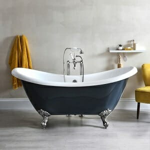 Milano Hest - Stone Grey Traditional Double-Ended Freestanding Slipper Bath - 1750mm x 730mm (No Tap-Holes)