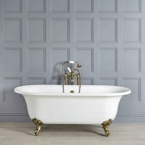 Milano Richmond - White Traditional Freestanding Bath with Brushed Gold Feet - 1730mm x 780mm