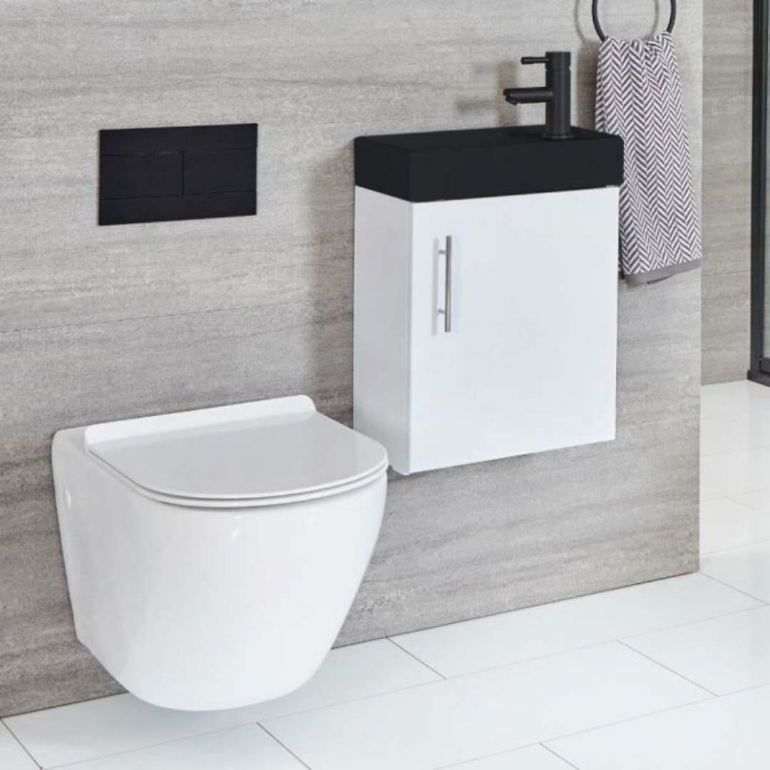 monochrome toilet & vanity