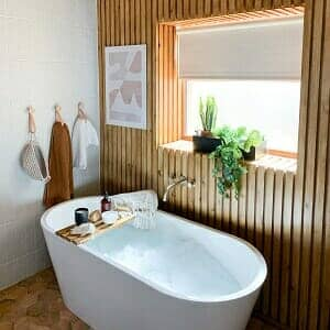 a wooden bathroom space
