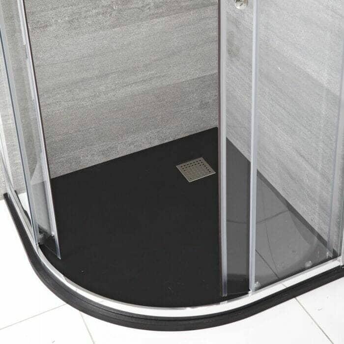Milano Rasa - Anthracite Slate Effect Quadrant Shower Tray - 900mm