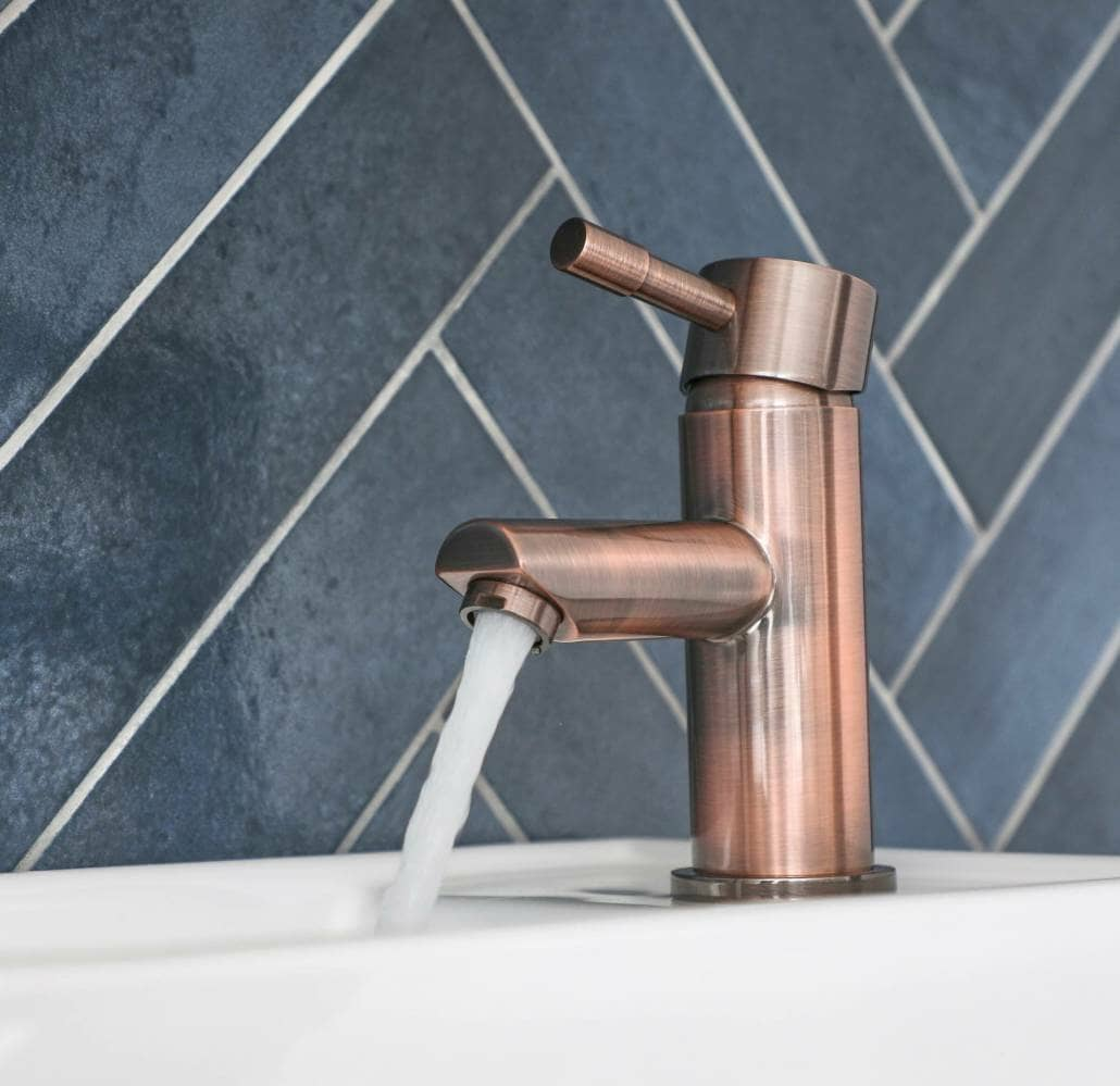 brushed copper mono basin tap